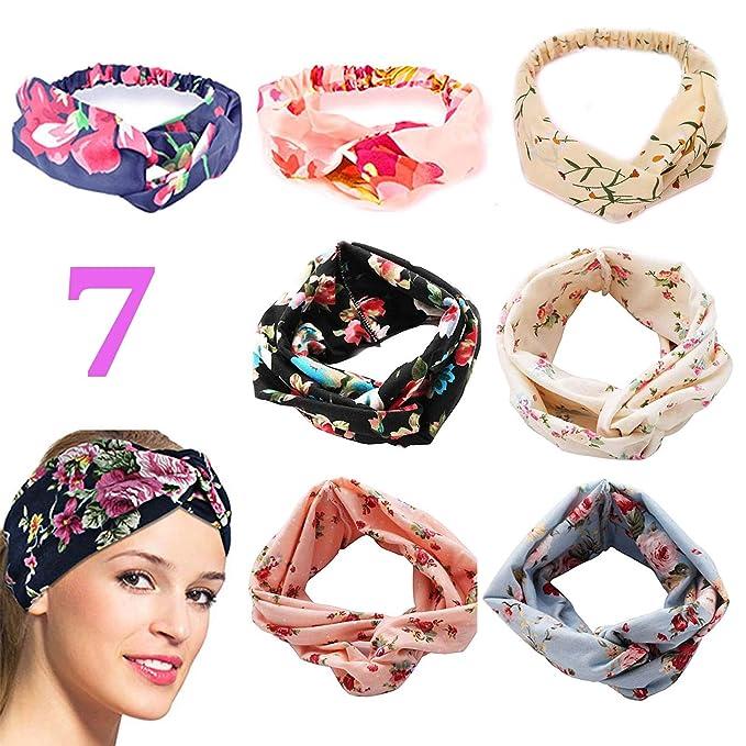 c2f4d02d6 7 Diademas Mujer Turbante Cintas Pelo Elastica Flor Vintage Impreso Yoga  Elástico Para Cabeza Venda De