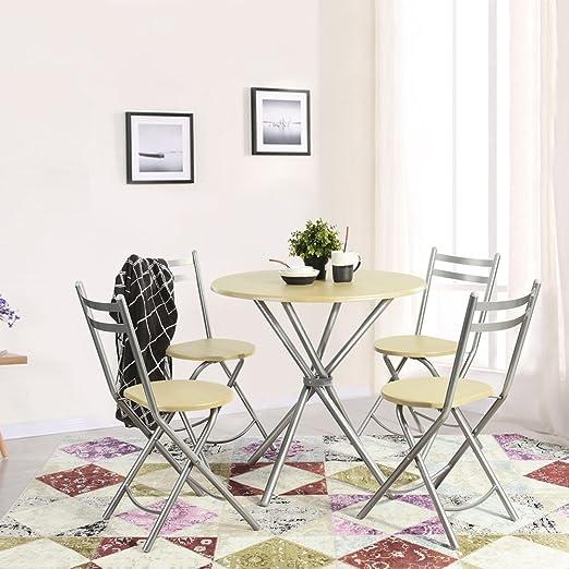 Fanilife Conjunto de Comedor Plegable Mesa de Comedor y 4 sillas ...