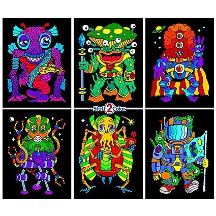 Amazon.com: Stuff2Color Aliens 6-Pack of Fuzzy Velvet Coloring ...
