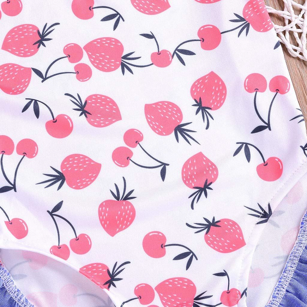 Waymine Toddler Girls Bikini Fruits Cherry Print Bowknot Beach Swimsuits Bathing Suits