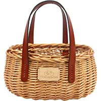 TOURBON Wicker Bicycle Basket Shopping Handbag with Leather Handle Front Handlebar Storage Oval Brown Handmade Natural…