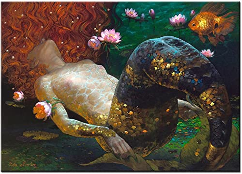 LKY ART Wall Art Oil Painting Abstract Art Wall Scenery Picture for Living Room Wall Decor Oil Paintings Framed Stretched Easy to Hang 24X36Inches Mermaid Abatract