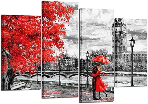 Kreative Arts X-Large 4pcs Contemporary Wall Art Black White and Red Umbrella Couple