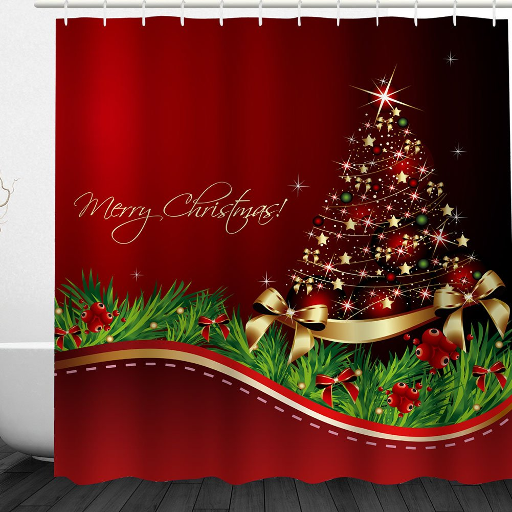 Flash Snowflake Christmas ball Blingbling Shower Curtain Christmas Bathroom Acessories Bath Curtain by Messagee, Polyester Fabric Set with Hooks,Glod White
