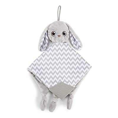 BooginHead Baby Newborn PaciPal Teether Blanket Pacifier Holder Bunny, Gray/White : Baby