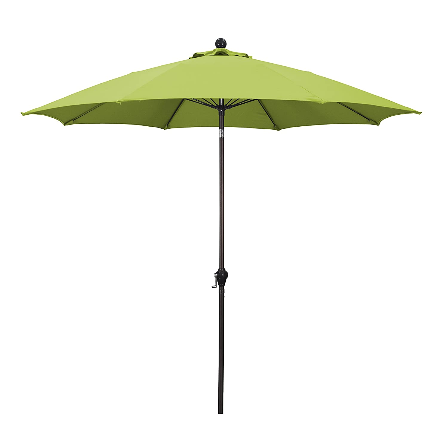 Amazon.com : California Umbrella 9u0027 Round Aluminum Pole Fiberglass Rib  Umbrella, Crank Open, Push Button 3 Way Tilt, Bronze Pole, Lime Green :  Patio ...
