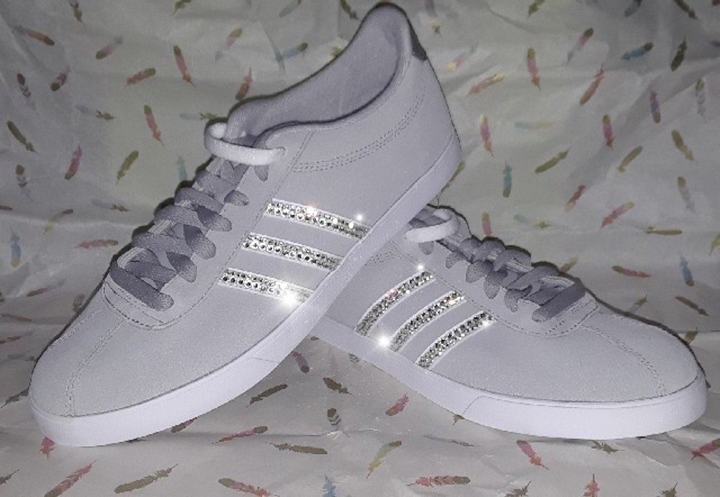 Adidas NEO courset womens suede sneakers, Bling Adidas, Womens adidas sneakers, Grey suede adidas, Swarovski adidas sneakers