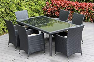 Ohana Wicker Furniture Black Wicker Outdoor Dining Set with Free Patio Cover (Beige)