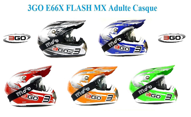 moto casque 3GO E66X FLASH MX Adulte casque moto motocross sport quad enduro ECE ACU casque certifié + X1 lunettes NOIR (Blanc / Vert, XS) MOTOHART