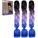 Emmet Jumbo Braids Premium Quality 100% Kanekalon Braiding Hair Extension Ombre 24Inch Heat Resistant, Long Time Using 2 Tone & 3 Tone 3Pcs/lot, with Free Ebook