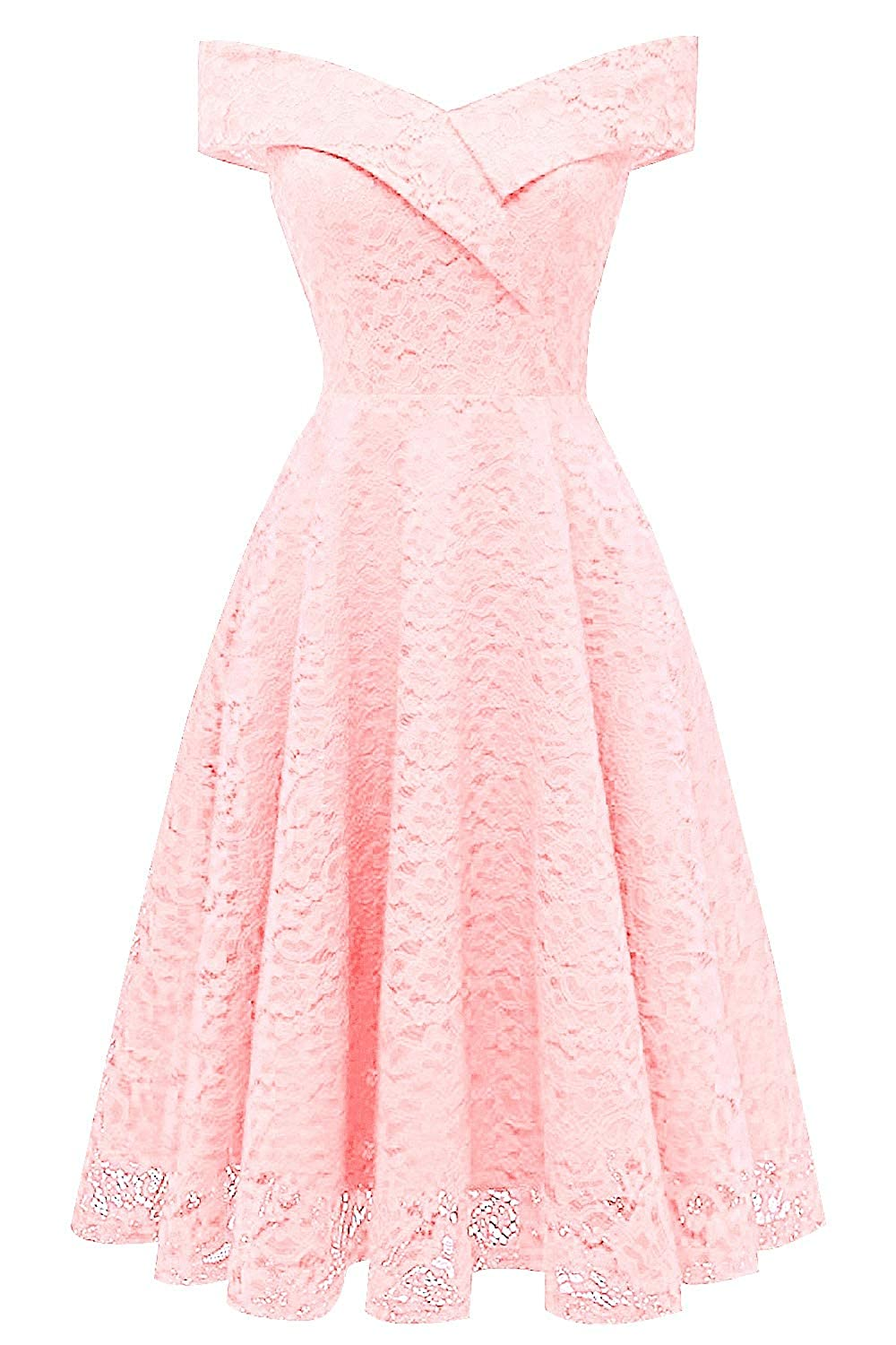 bluesh Pink MorySong Women's Lace Off The Shoulder Knee Length Cocktail Homecoming Dress
