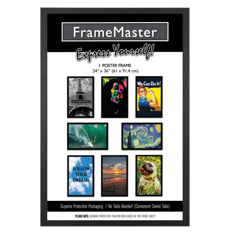 FrameMaster 24x36 Poster Frame, Black Wood Composite, Gallery Edition