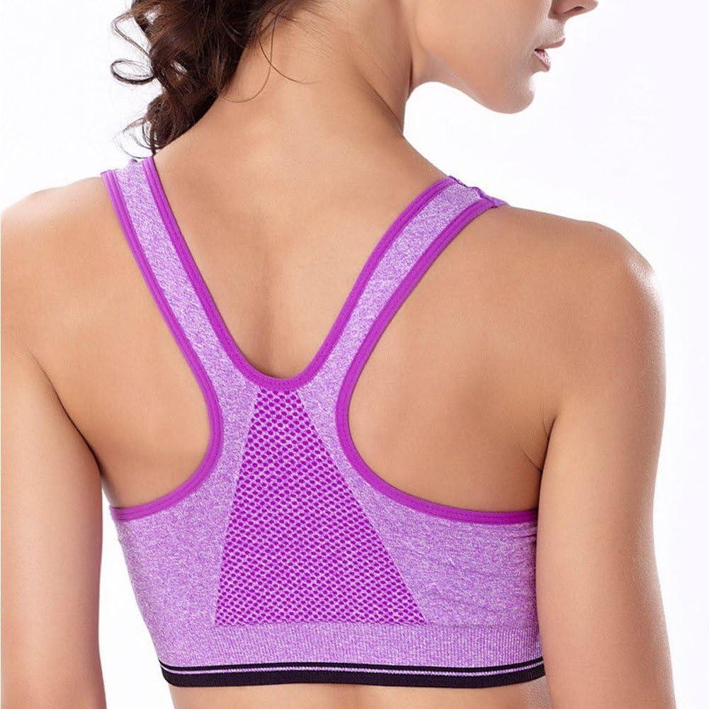 YANXEN Fitness Yoga Stretch Shockproof Workout Tank Top Padded Sports Bra 5 Colors For Women Size S,Purple
