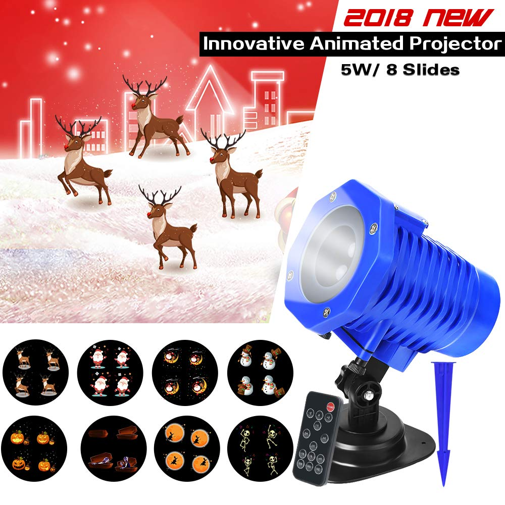 2018 New Animated Projector Lights, LED Christmas Projector Night Lamp, 8 Replaceable Slides IP65 Waterproof Landscape Projector with Remote Control for Halloween Christmas Party and Garden Decoration