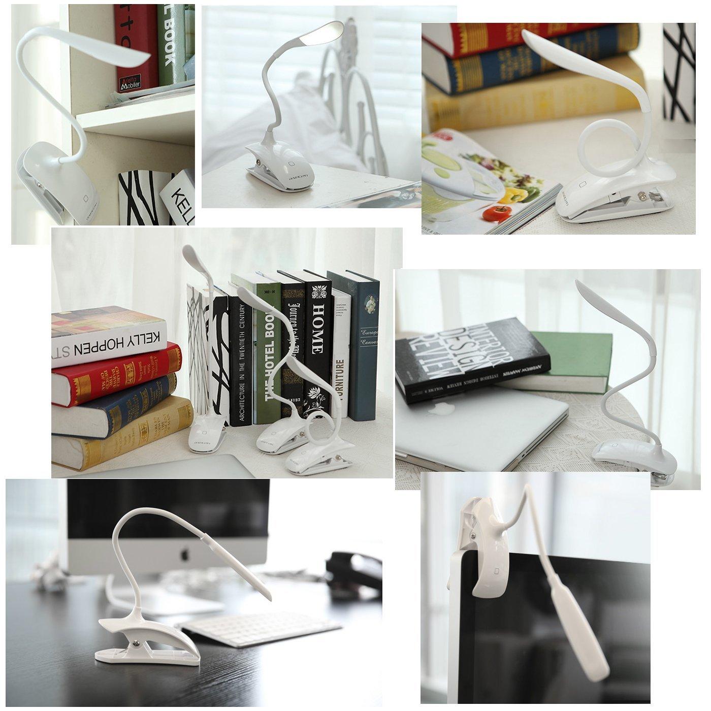 Clip Desk Lamp Table Led Bulb Lamps Set Usb Outlet White
