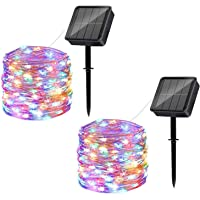 Solar String Lights Outdoor, 2 Pack 120LED Solar Powered Fairy Lights Waterproof 12M/40Ft 8 Modes Indoor/Outdoor Starry…