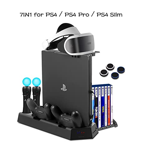 aee9b7149 PS4 Vertical Stand Cooling Fan Universal for PlayStation 4 Slim PS4 Pro  Consoles Dualshock4 Controller Charging