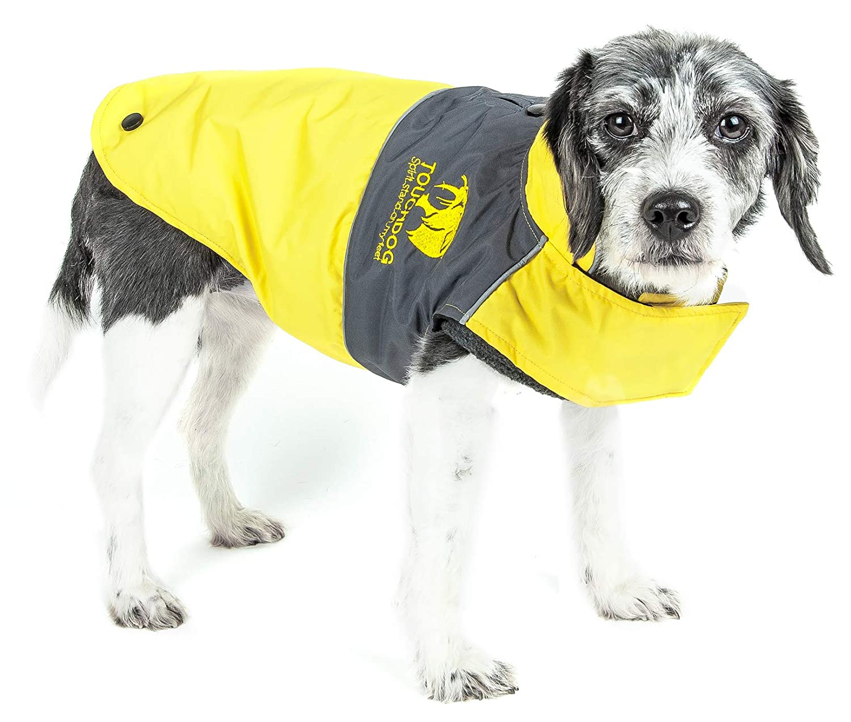 Sporty Yellow, Charcoal Black X-LARGE Sporty Yellow, Charcoal Black X-LARGE TOUCHDOG 'Lightening-Shield' Waterproof 2-in-1 with Removable Polar Fleece Lining Pet Dog Coat Jacket w Blackshark Technology, X-Large, Sporty Yellow, Charcoal Black