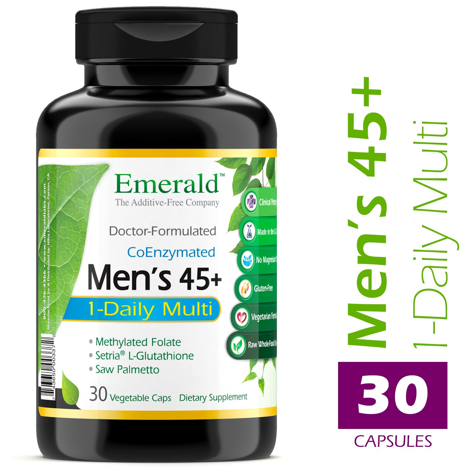 Men s 45 1-Daily Multi – Multivitamin with CoQ10, Saw Palmetto Extra Lycopene – Supports Heart Health, Energy Boost, Immune System, Strong Bones – Emerald Laboratories – 30 Vegetable Capsules