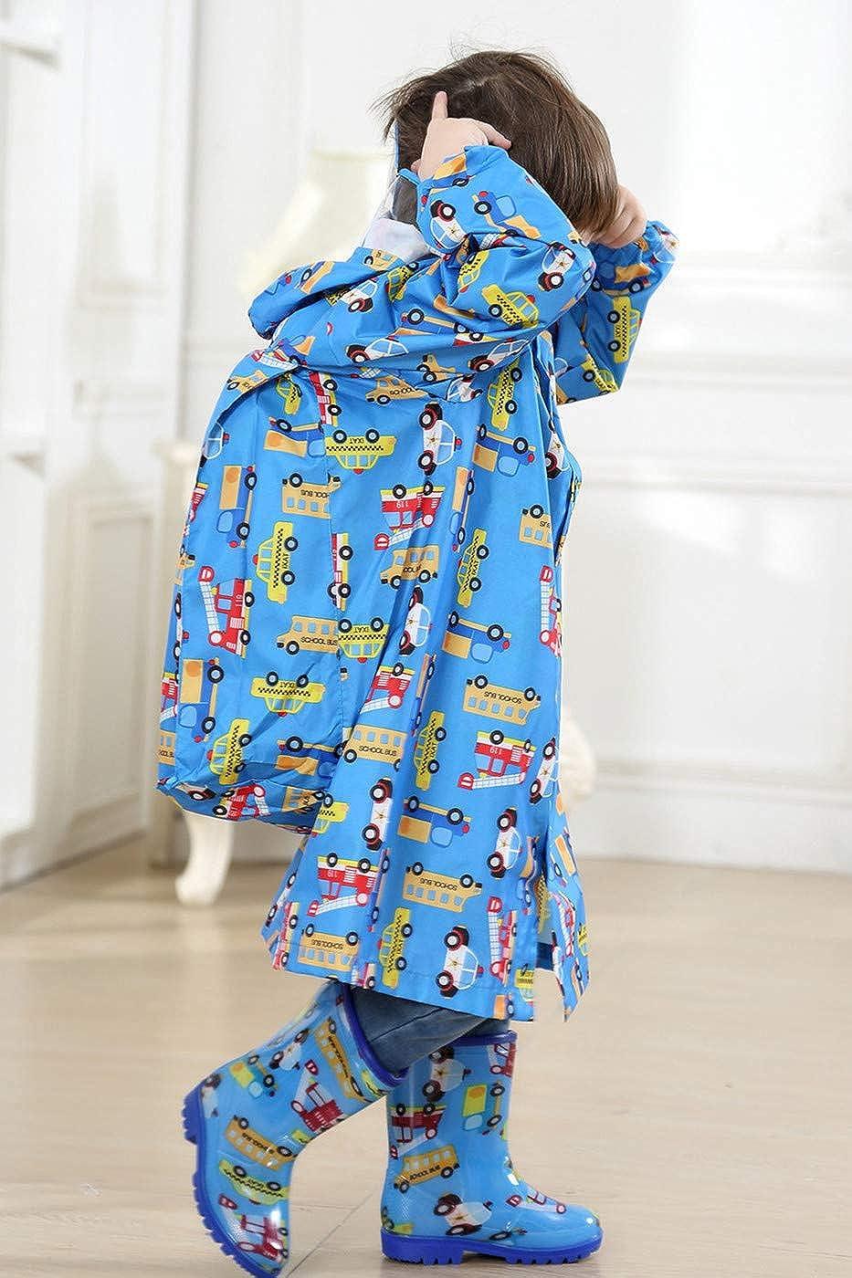 TURMIN Enfants Imperm/éable Imperm/éable avec Sac D/école Position Mignon R/éfl/échissant Poncho De Pluie Gar/çons Filles /À Capuche Respirant Flaque Costume Costume Couverture