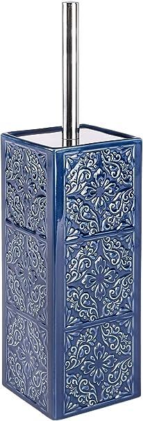 WENKO WC-Garnitur Malta Blau//Weiß Keramik   WC  Toilettenbürste  Bürstenhalter