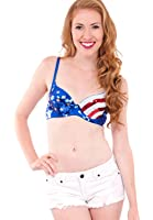 Royal Blue Ladies Independence Day Light Padded Sequins Bra Top