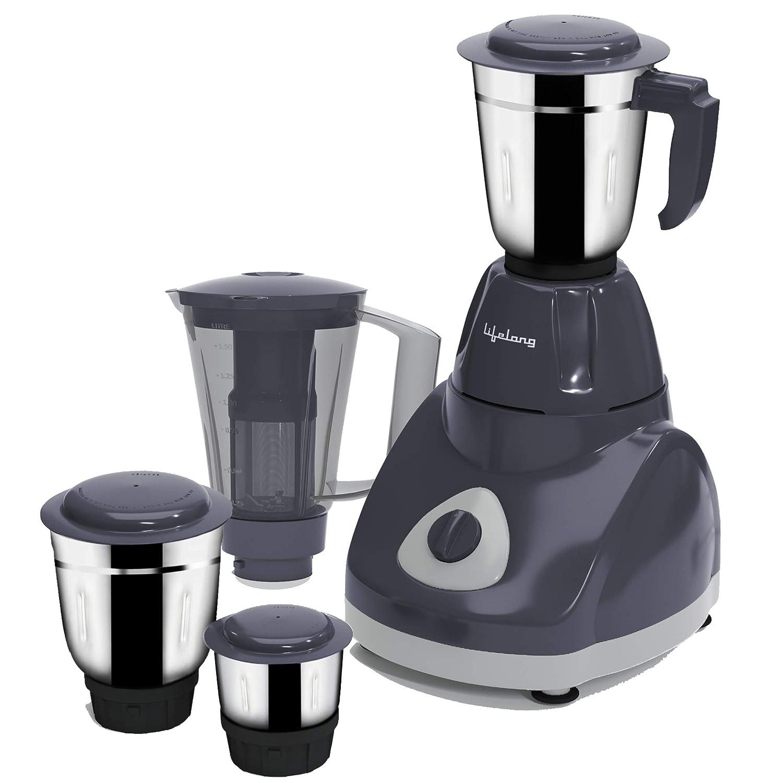 Lifelong Power VX 750Watt Juicer Mixer Grinder, 3 Stainless Steel Jar+1 Juicer Jar (Grey)