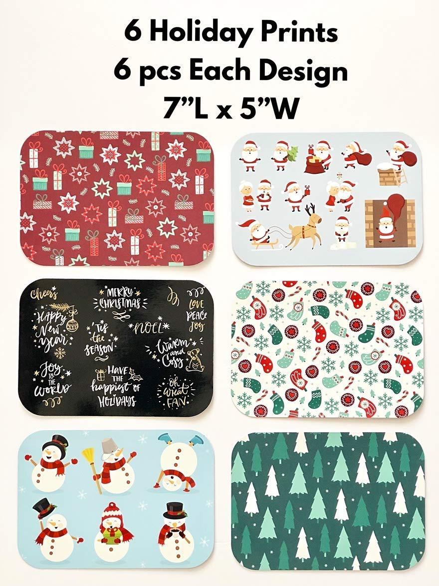 Snowman /& Santa Festive Cover Print 6 Holiday Designs Aluminum Set of 36 Christmas Treat Foil Containers