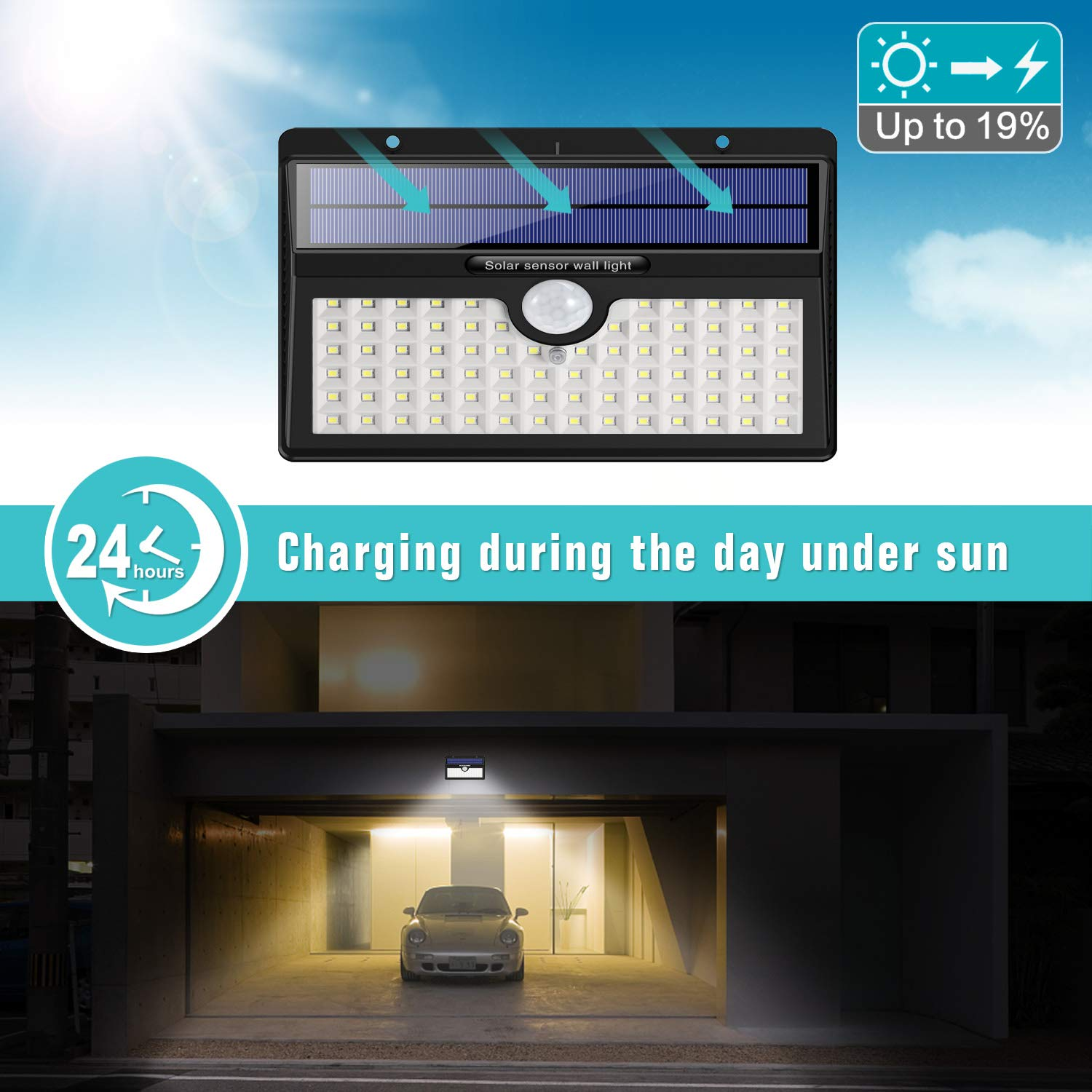 Solar Lights Outdoor 2 Pack HETP Upgraded 78 LED Solar Motion Sensor Security Lights 2000 mAh Solar Powered Lights Waterproof Wireless Wall Lights Solar Lamps with 3 Intelligent Modes for Garden
