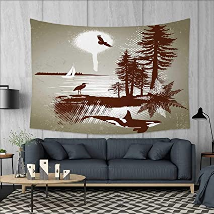 Anniutwo Nautical Home Decorations For Living Room Bedroom Detailed Complex West Coast Scenery In Graffiti Style