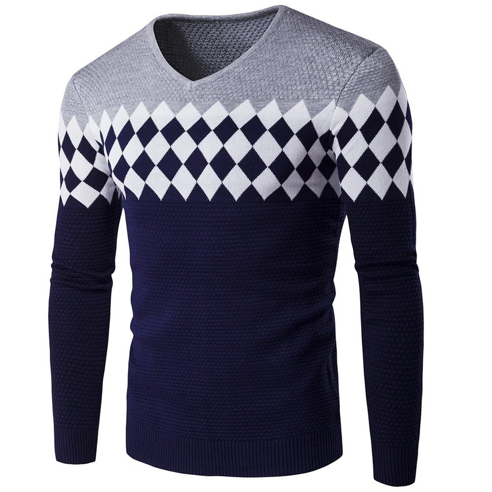 Gndfk männer - Herbst - Winter - Pullover, europäische und amerikanische Mode - Diamant - v aus Pullover,Grau,M