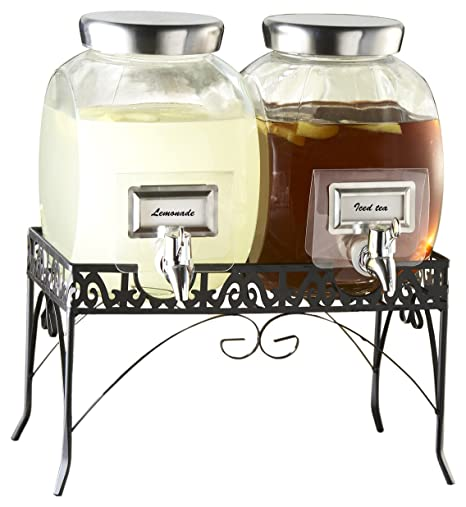 Premium Gallon Glass Yorkshire Mason Dual Drink Dispenser Display for Parties Weddings and Holidays 2 Pack Gallon Glass Beverage Dispenser with Metal Stand and Stainless Steel Spigot and Metal Lid