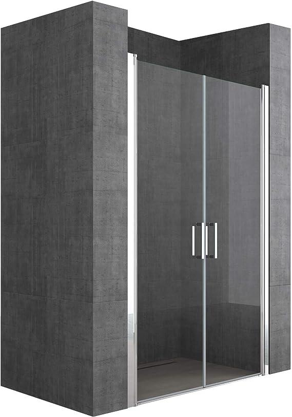 doporro Mampara de ducha diseño Teramo24 120x195cm puerta de vidrio transparente con mecanismo de elevación y descenso: Amazon.es: Bricolaje y herramientas