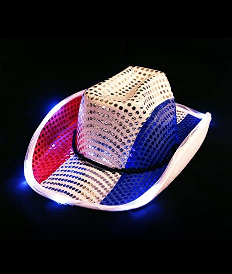 842fb4fff0fe5 Amazon.com  Adult Patriotic 4th of July Independence Day Light Up Cowboy Hat  Costume party Unisex Great for Holiday Party  Toys   Games
