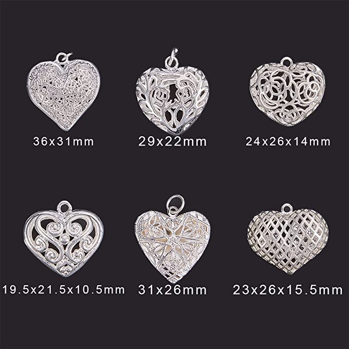50pcs Antique Silver Heart Tibetan Style Alloy Charms Crafts 8x7x2.5mm Hole 2mm