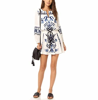 70cc0cfa017b Free People Women's Anouk Embroidered Minidress, Small, Ivory at ...