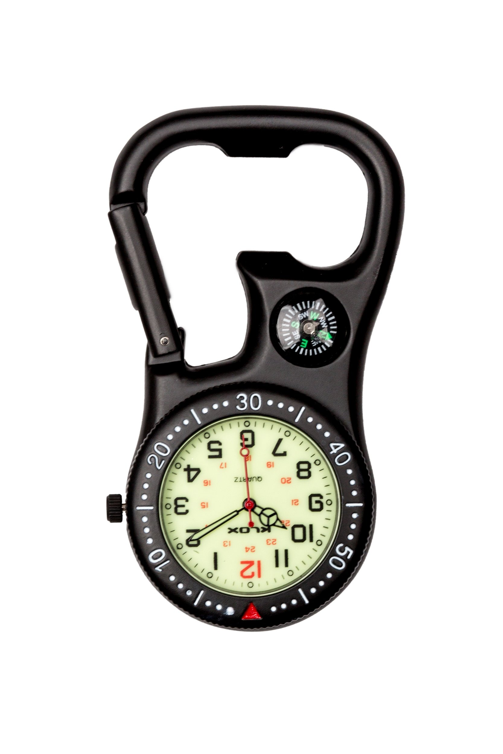 Black Clip-On Carabiner FOB Watch with Compass & Bottle Opener for Doctors Nurses Extra Battery