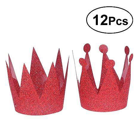 LUOEM 12pcs glitter compleanno cappelli corona cappelli festa principessa  principe corone per bambini e adulti decorazioni 846b7b6c6e56