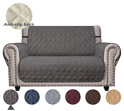 Superb Ameritex Loveseat Cover With Anti Skip Dog Paw Print 100 Waterproof Keep Your Couch Stain Dirt Scratches Free Pattern1 Dark Grey Loveseat Machost Co Dining Chair Design Ideas Machostcouk