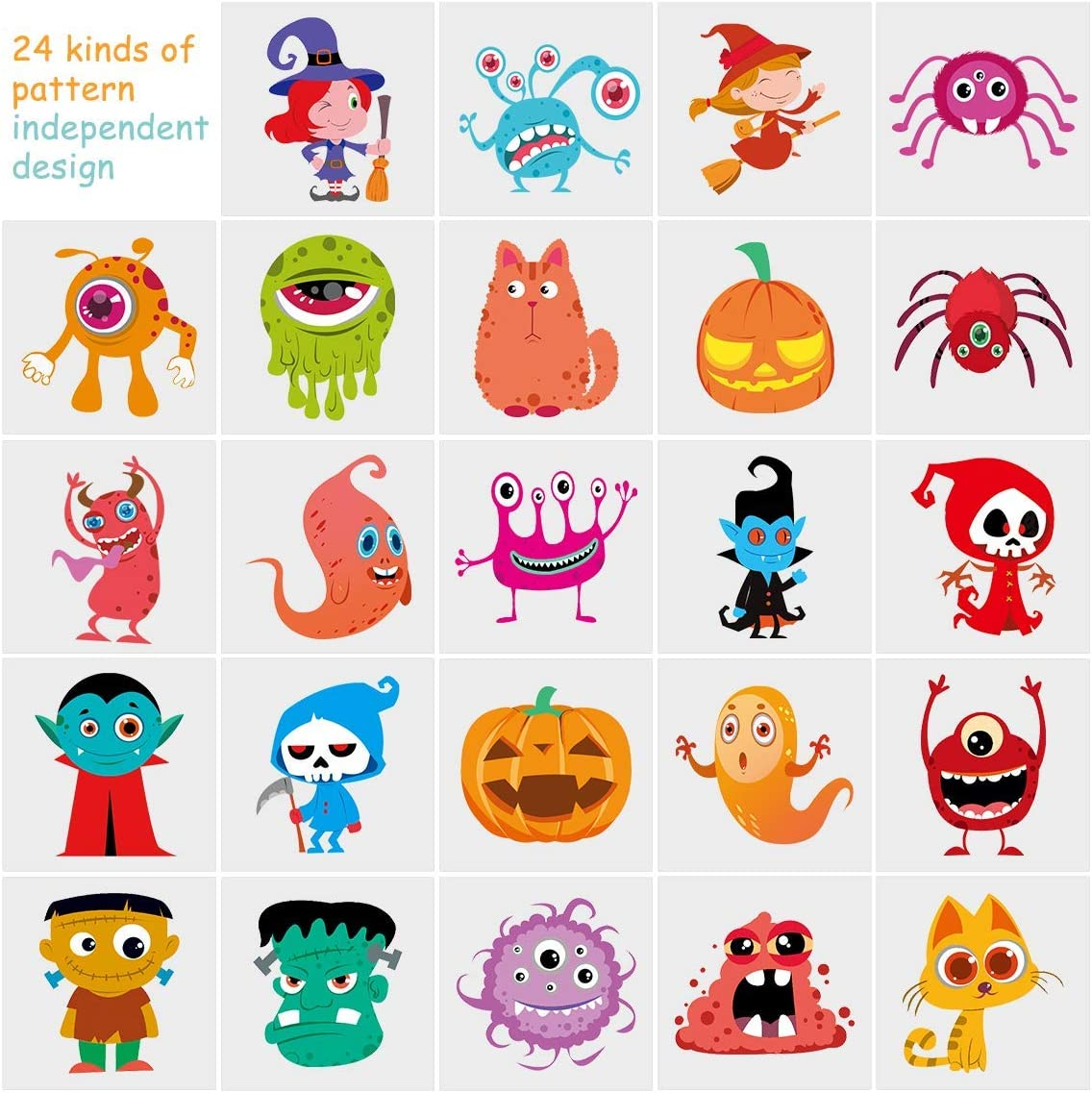Halloween Temporary Tattoo for Kids, 144 Assorted Tattoo 24 Cute Designs Stick on Children Tattoos