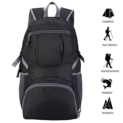 6a983700a3b5 FlowFly Packable Durable Travel Hiking Backpack for Men Women Unisex Rated  35L Lightweight Water Resistant Handy