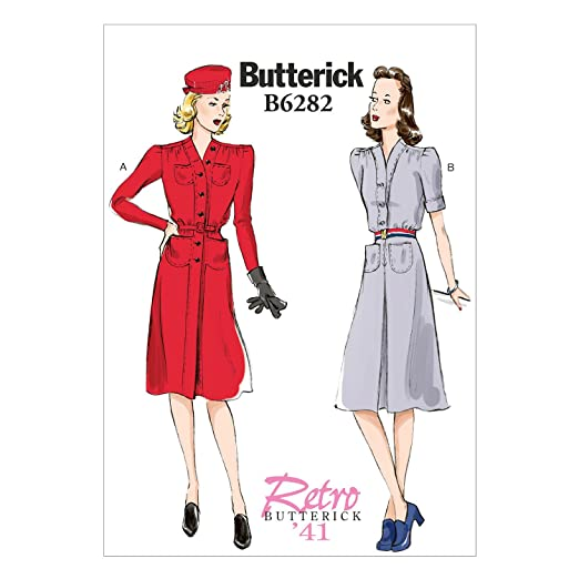 1940s Sewing Patterns – Dresses, Overalls, Lingerie etc 1941 Dress Butterick Patterns B6282 Misses Dress and Belt Size B5 (8-10-12-14-16) $4.88 AT vintagedancer.com