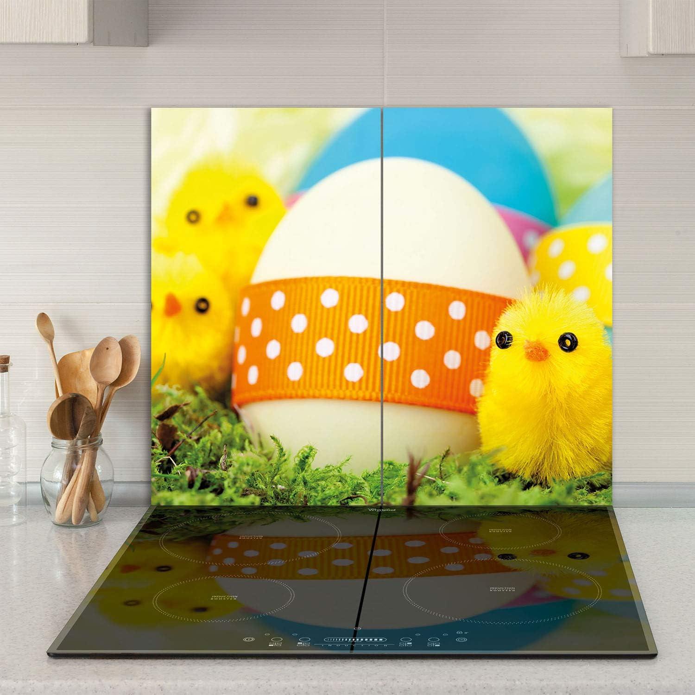 Herdabdeckplatten Ceranfeldabdeckung Spritzschutz Glas 2x30x52 Ostern