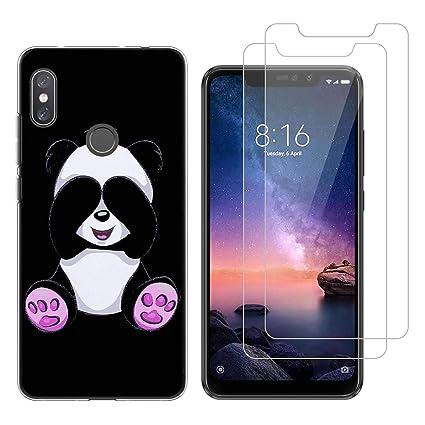 Funda Xiaomi Redmi Note 6 Pro Panda tímido Suave TPU Silicona Protector Trasero Carcasa para Xiaomi Redmi Note 6 Pro (6,26 Pulgada) con Dos Protector ...