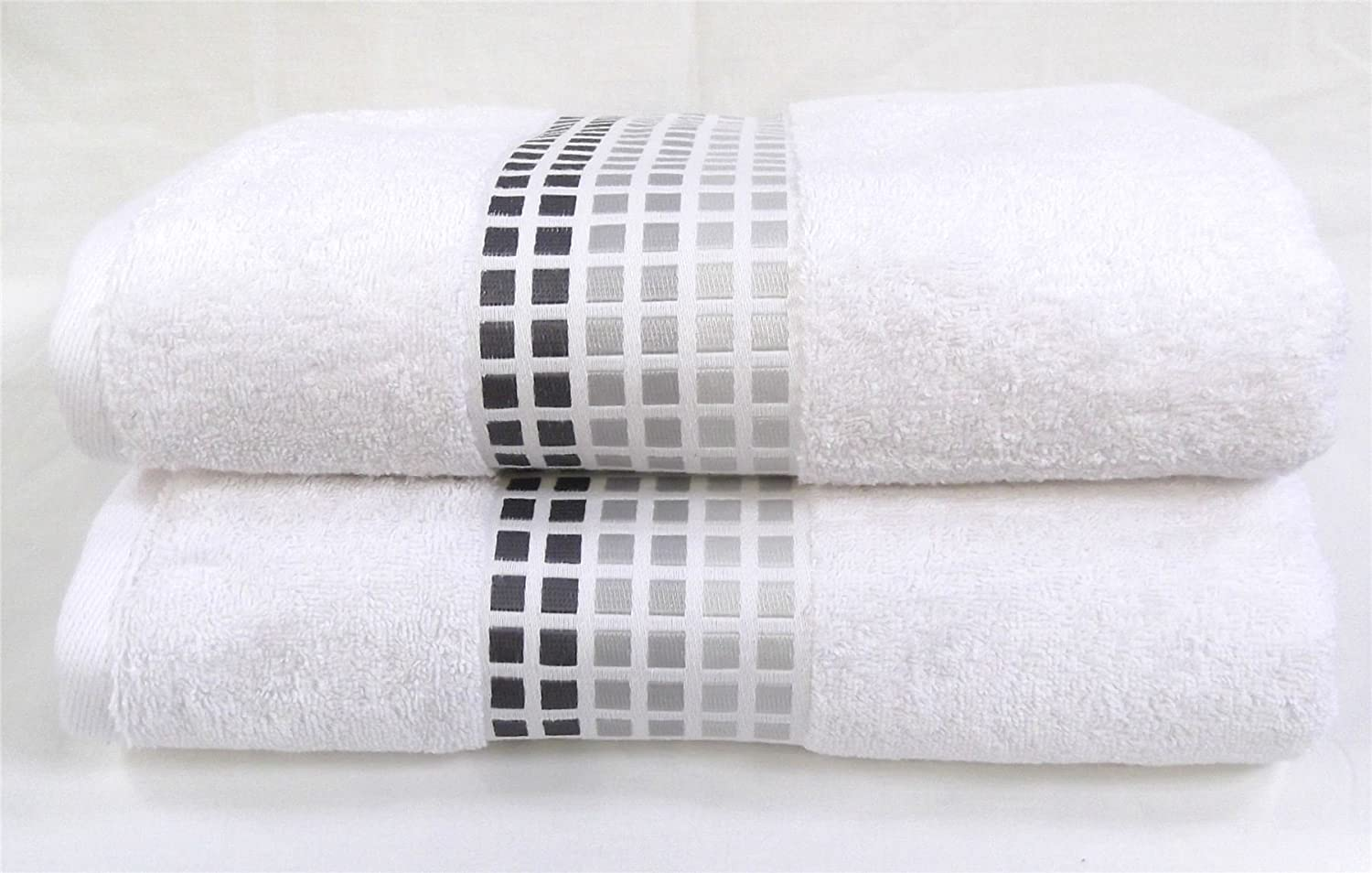 Sally Mosaic Hand Towels One Pair 2 White Black Silver Grey Squares Bathroom Super Soft 100 Cotton Hallways Amazon Co Uk Kitchen Home