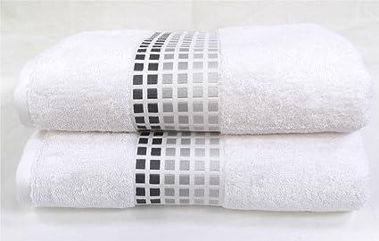 Sally mosaico toalla de toallas de baño de color blanco negro gris plata baño súper suave