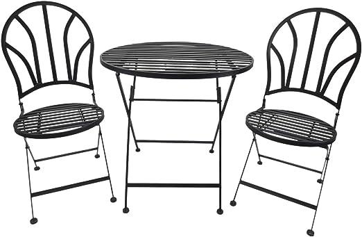 Outsunny Set Tavolino 2 Sedie Pieghevole da Giardino in Metallo Ф70 x 70 cm Nero