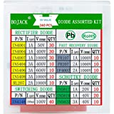 BOJACK 14 Value 240 pcs Diode Assortment Kit Contain Rectifier/Fast Recovery/Schottky/Switching Diode 1N4001 1N4004 1N4007 1N