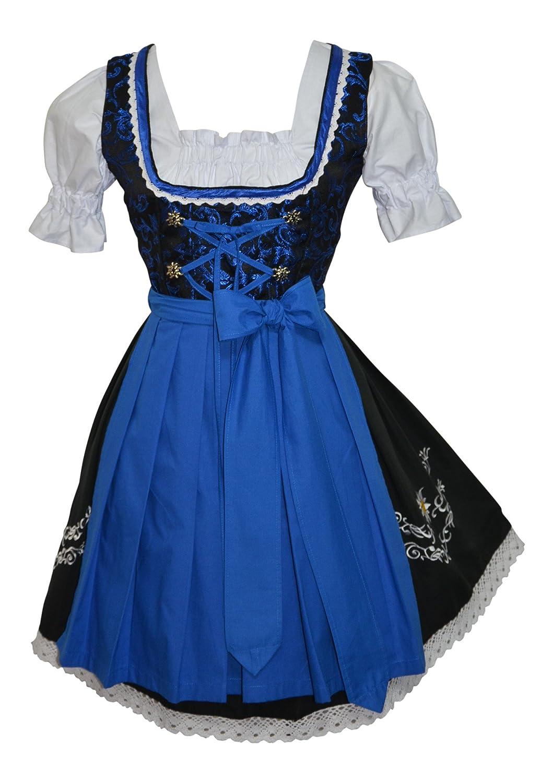 Edelweiss Creek 3-Piece Short German Oktoberfest Dirndl Dress Black & Blue