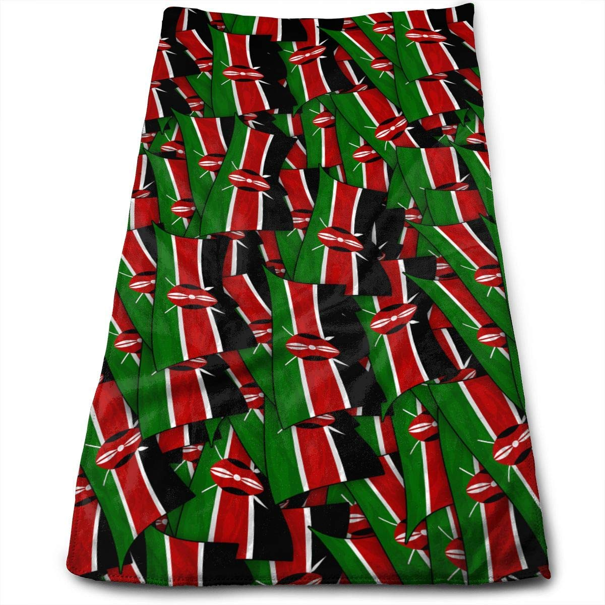 WCMBY Hand Towels Kenya Flag Wave Collage Face Towels Highly Absorbent Towels for Face Gym And Spa 12\' X 27.5\'